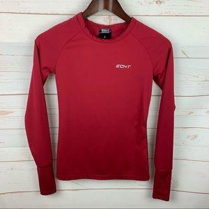 Echt   Red Rear Shoulder Splits Workout Shirt